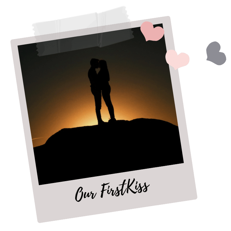 Young Couple kissing in front of Sunset
