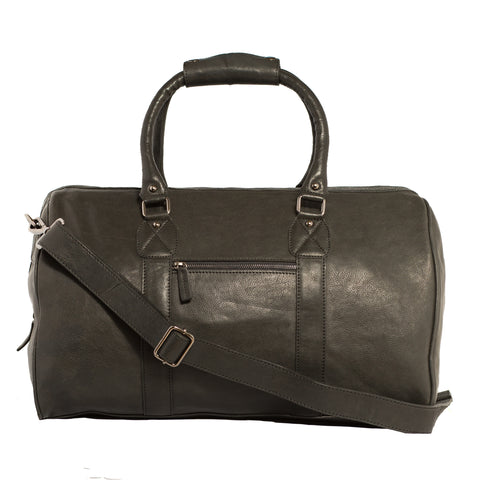 Carlo Leather Weekender Bag-Black