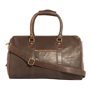 Carlo Leather Weekender Bag-Brown