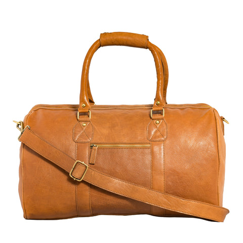 Carlo Leather Weekender Bag-Tan