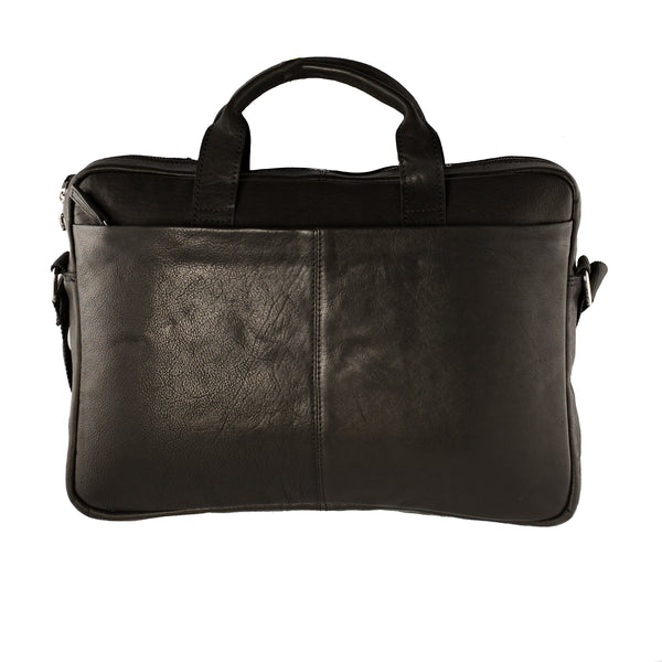 Full Grain Leather Messenger Bag- Manny Black