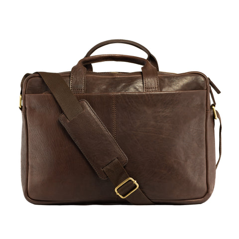 Full Grain Leather Messenger Bag-Manny Brown