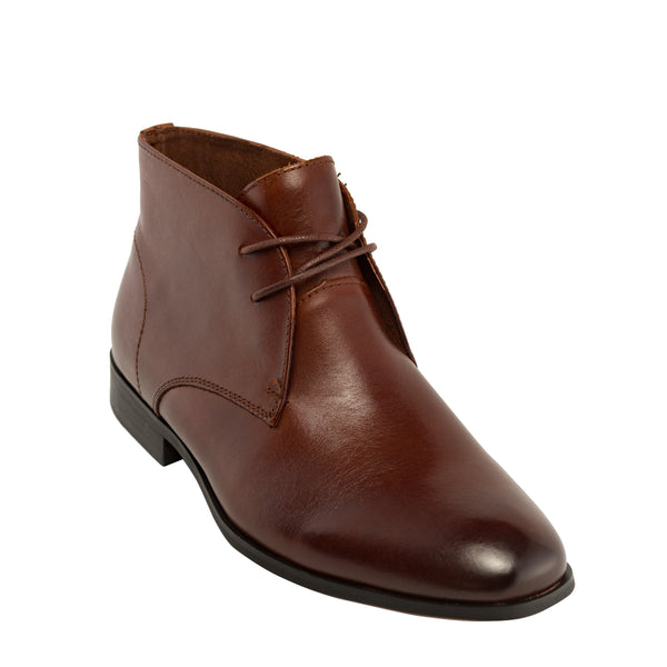 Genuine Leather Boots-Don Chocolate Brown