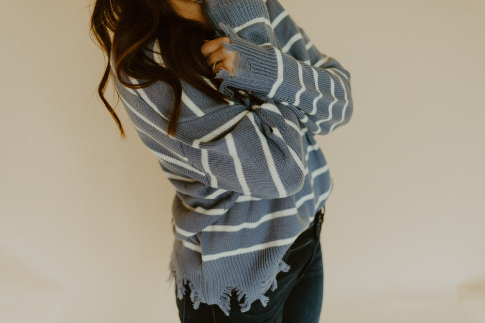 ASHTON DISTRESSED STRIPED SWEATER
