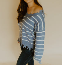 Load image into Gallery viewer, ASHTON DISTRESSED STRIPED SWEATER