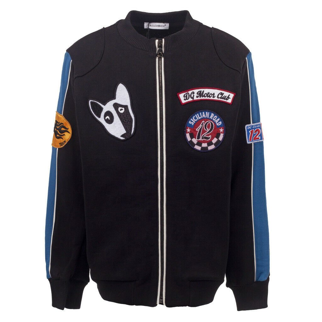 Dolce & Gabbana Boys Black Zipped Bomber Jacket