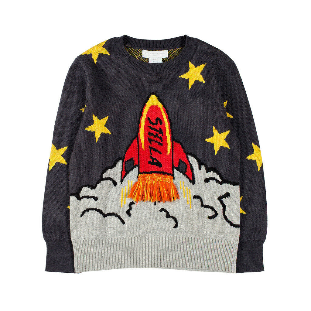 Stella McCartney Kids Boys Grey Organic Cotton Jumper. Stars and Shuttle Intarsia Print