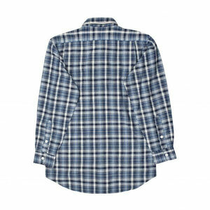Rear view Polo Ralph Lauren boys blue check shirt.