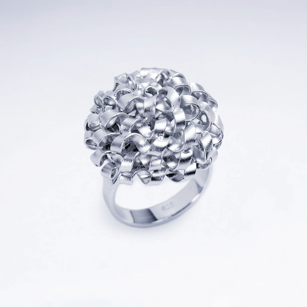 abstrakter Statement Ring 925 Sterlingsilber