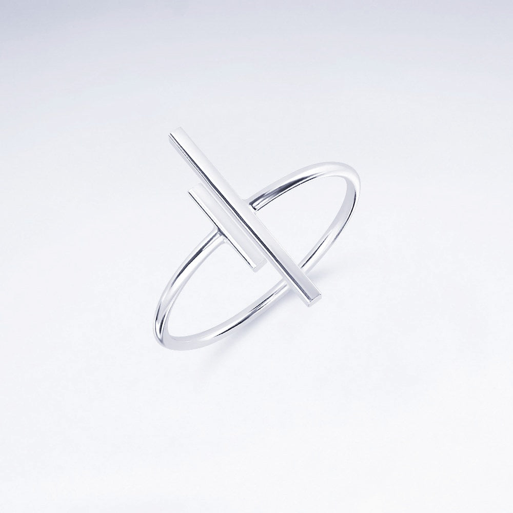 Ring Damen Geo Stab Minimal in 925 Sterling Silber