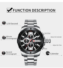 Load image into Gallery viewer, Watch Man Luxury Quartz Watch Sport watches  Stainless Steel Band Gold