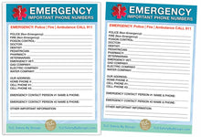"Load image into Gallery viewer, EMERGENCY CONTACT CARDS Magnetic Sleeve Home Alone 5.5"" x 7.5"" - safety list for parents, pet owners, babysitters, grandparents, dorm rooms Blue"