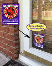 "Load image into Gallery viewer, PET FIRE EMERGENCY Home Alone Safety Alert Rescue Emergency Pets Kids 4"" x 5"" Window Decals Clings-Behind the Glass & Front of Surface"