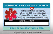 Load image into Gallery viewer, 2 Pk. SEVERE ALLERGIES Medical Condition ICE Alert Emergency I.D. Identification Contact Card - Self Laminate or Plastic Pouch