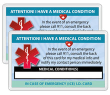 Load image into Gallery viewer, 2 Pk. Medical Condition ICE Heavy Weight Cardstock Alert Emergency I.D. Identification Contact Card - Self Laminate or Plastic Pouch