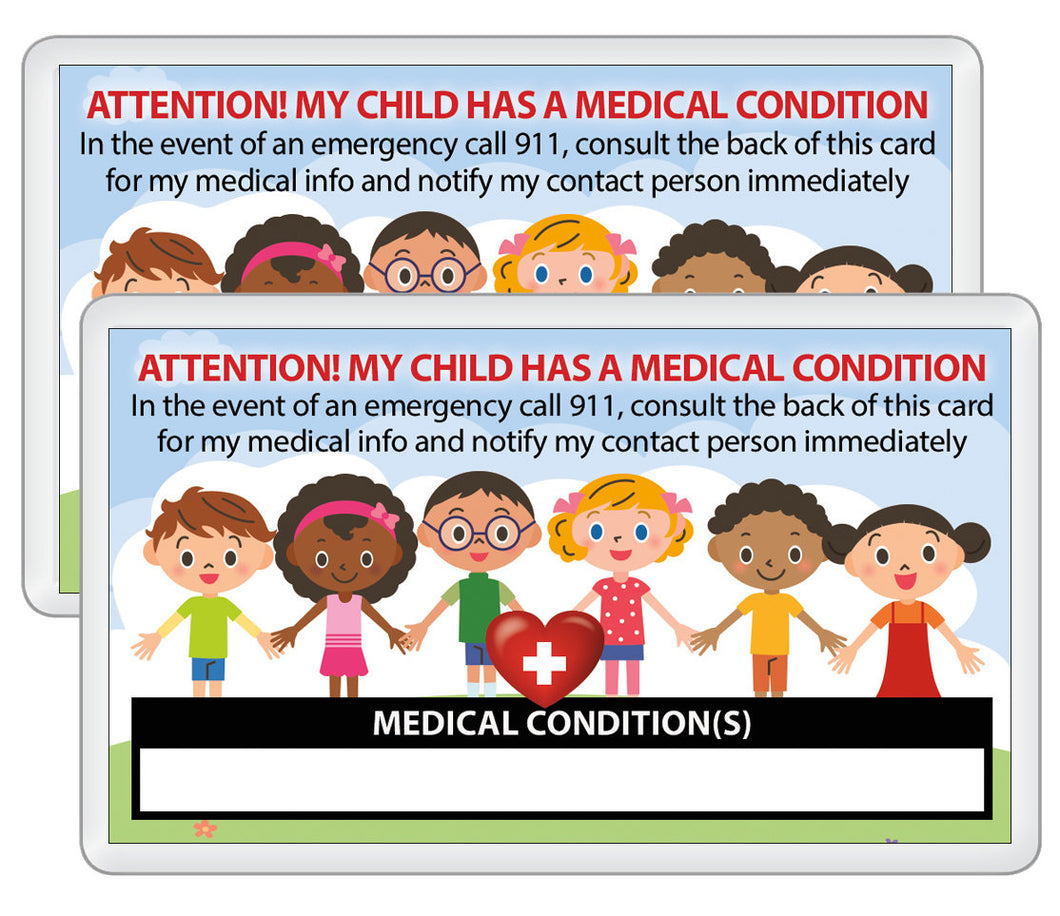 2 pk. My CHILD Kid Has A MEDICAL Condition ICE Safety Alert In Case of Emergency I.D. Identification Contact Card - Back to School Backpack