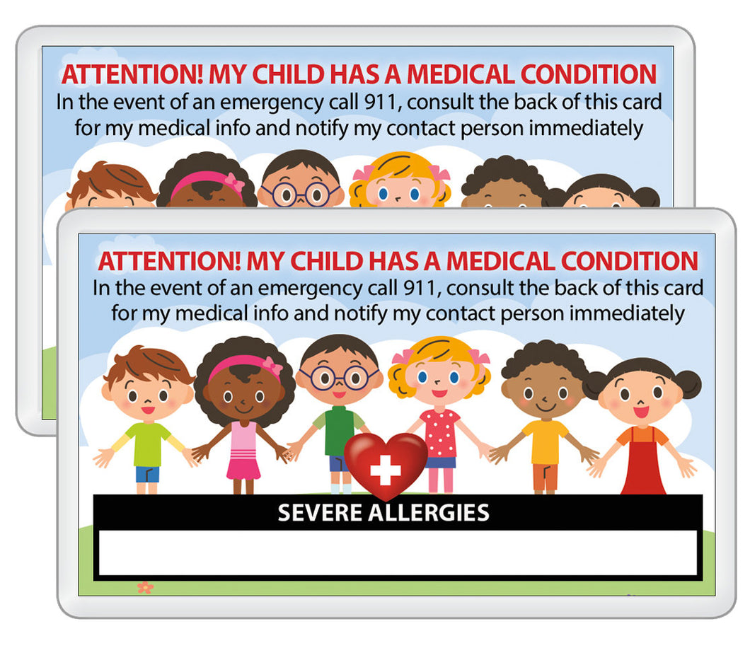 2 pk. My CHILD Has SEVERE Allergies Medical Condition Emergency ICE Safety Alert I.D. Identification Contact Card - Back to School Backpack