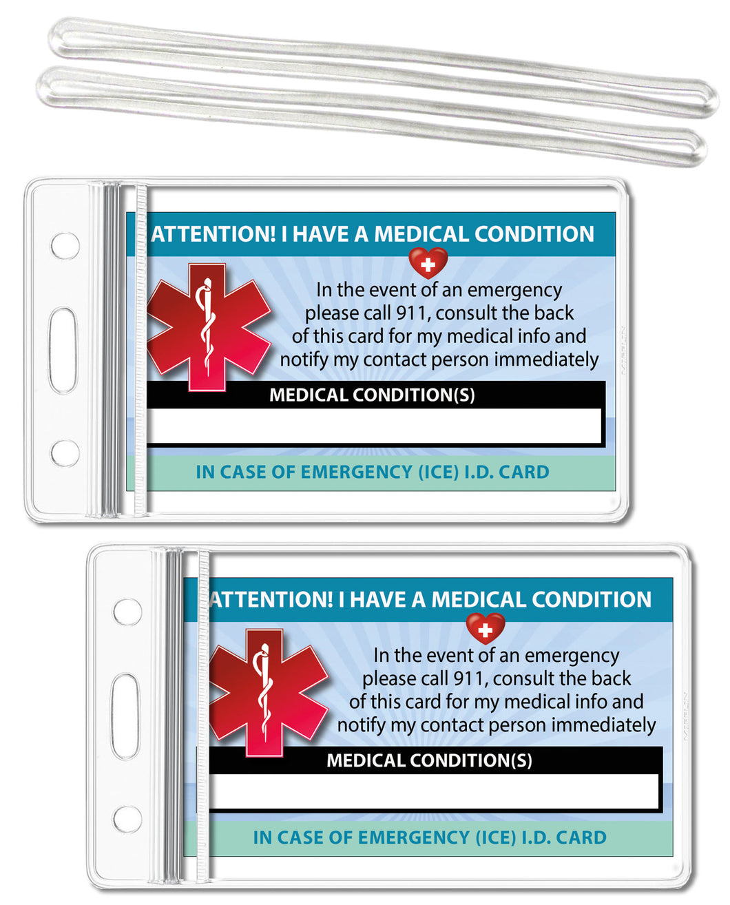 2 Pk. Medical Condition ICE Heavy Weight Cardstock Alert Emergency I.D. Identification Contact Card - Self Laminate or Plastic Pouch