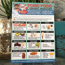 "Load image into Gallery viewer, ENHANCED TOXIC Poisonous Foods 5"" x 7"" Poison for Pets Dogs Cats Emergency Home Alone Refrigerator Safety Magnet Veterinarian Approved"