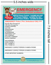 "Load image into Gallery viewer, EMERGENCY CONTACT CARDS Magnetic Sleeve Home Alone 5.5"" x 7.5"" Doctor Pediatrician Veterinarian Approved Safety Phone Numbers List"