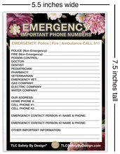 "Load image into Gallery viewer, EMERGENCY CONTACT CARDS Magnetic Sleeve Home Alone 5.5"" x 7.5"" - safety list for parents, babysitters, grandparents, dorm rooms Black Floral"