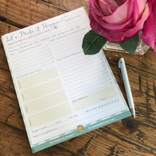 Load image into Gallery viewer, 8.5 x 11 DAILY PLANNER Tear Off Pad Task To Do List Appointments Productivity Schedule Organizer Goal Tracker & Emergency Contact Call Card