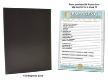 "Load image into Gallery viewer, EMERGENCY CONTACT CARDS Magnetic Sleeve Home Alone 5.5"" x 7.5"" - safety contact list for parents, babysitters, grandparents, dorm rooms Pastel Blue"