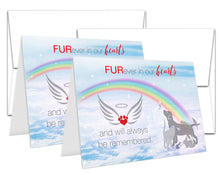 "Load image into Gallery viewer, Pet Sympathy Card Rainbow Bridge Bereavement Condolence for Dog, Cat, Rabbit – Qty. 2 - 5""x7"" cards with envelopes"