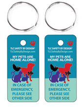 Load image into Gallery viewer, PET EMERGENCY 2 pk. key tags - in case of emergency - contact card - my pet is home alone - dog cat home alone - key chain - plastic