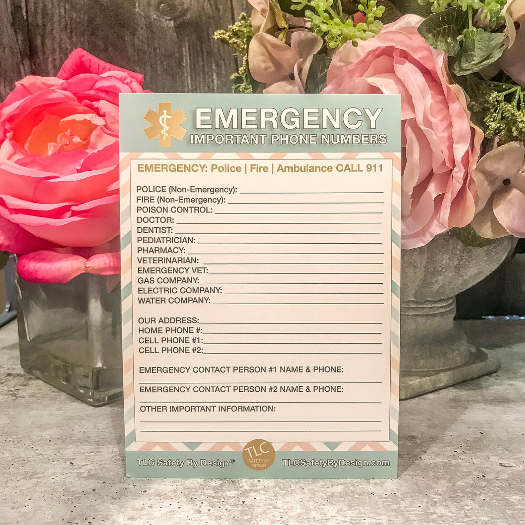 "EMERGENCY CONTACT CARDS Magnetic Sleeve Home Alone 5.5"" x 7.5"" - safety contact list for parents, babysitters, grandparents, dorm rooms Pastel Blue"
