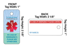 Load image into Gallery viewer, Medical ICE Alert In Case of Emergency Allergy Safety I.D. Identification 2 Pk. Plastic Key Tags - Free Emergency Contact Card included