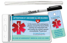 Load image into Gallery viewer, Medical ICE Alert In Case of Emergency Allergy Safety I.D. Identification Plastic Wallet Card and Key tag - optional sharpie or complete kit