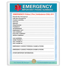 "Load image into Gallery viewer, 2 Premium Emergency Contact Cards & 1 Magnetic Sleeve Large Format 8.5"" x 11"" Doctor Approved Refrigerator Important Phone Numbers Call List"