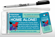 Load image into Gallery viewer, PET EMERGENCY CARD & key tag - in case of emergency - contact card - my pets are home alone - dog home alone - cat home alone - plastic