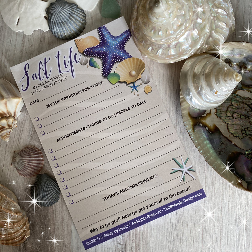 5.5 x 8.5 DAILY PLANNER PAD Salt Life Beach Shore Sea, 50 Undated Sheets, Notepad To Do List, Appointments, Emergency Contact Card
