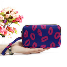 Load image into Gallery viewer, 3 Zipper Women Waterproof Purse Cell Pouch Handbag Wallet Wristlet Bag 2019 New Fashion Beauty heart/ Stars/ Hearts/ Bags