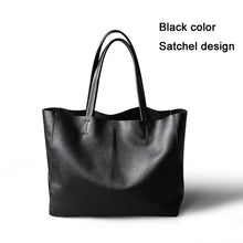 Load image into Gallery viewer, 2019 New Women Deluxe Genuine Cowhide Leather Totes Handbag Lady Simple Soft Satchels Bag High Capacity Waterproof Shopping Bags