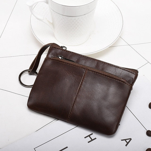 Mini Purse for Men Wallet Women Genuine Leather Zipper Vintage Short Lady Small Slim Female Women's Wallet Male Thin portomonee