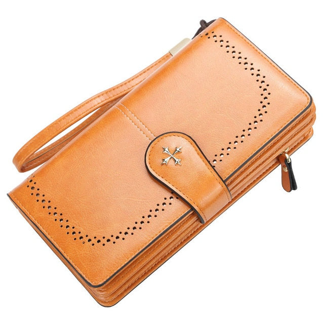 2020 Large Women Wallets Name Engraving Hollow Out Long Wallet Fashion Top Quality PU Leather Card Holder Wallet For Women