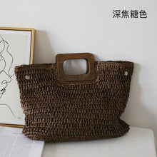 Load image into Gallery viewer, Korean caramel color ins wind handmade straw bag handbag lady summer large capacity French retro beach bag