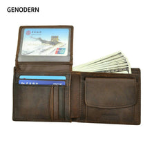 Load image into Gallery viewer, GENODERN Cow Leather Men Wallets with Coin Pocket Vintage Male Purse Function Brown Genuine Leather Men Wallet with Card Holders