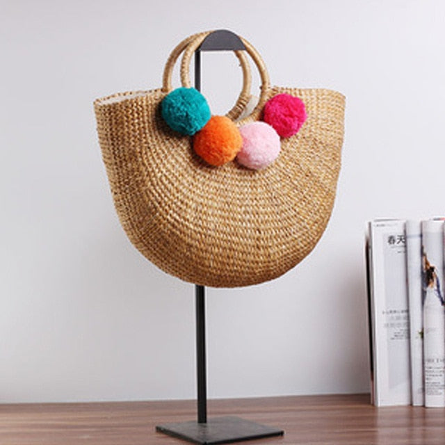 2020 new high quality tassel Rattan Bag beach bag straw totes bag bucket summer bags with tassels women handbag braided