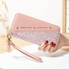 Load image into Gallery viewer, 2020 Fashion Sequined Patchwork Glitter Wallet for Women Long PU Leather Wallet Coin Purse Female Wallets Girls Gifts Wholeale