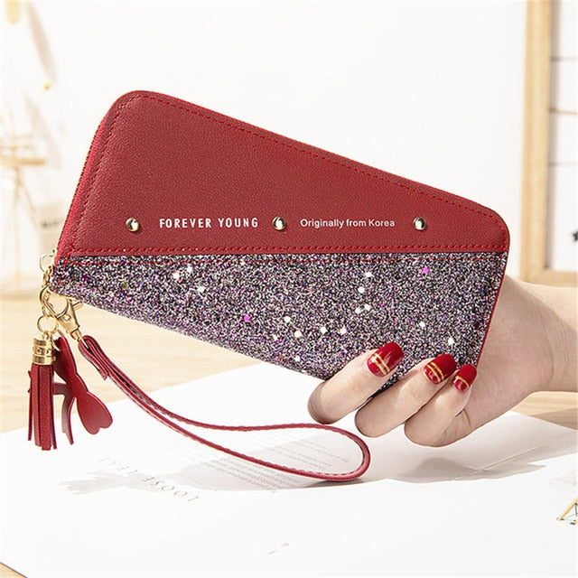 2020 Fashion Sequined Patchwork Glitter Wallet for Women Long PU Leather Wallet Coin Purse Female Wallets Girls Gifts Wholeale
