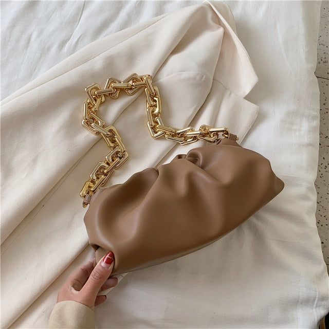 2020 Day clutch thick gold chains dumpling Clip purse bag women cloud Underarm shoulder bag pleated Baguette pouch totes handbag