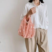Load image into Gallery viewer, Transparent Tote Double Organza Yarn Cloth Bag For Woman Embroidery Flowers Handbag Female Mesh Girls Sweet Eco Shopping Bag
