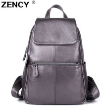 Load image into Gallery viewer, ZENCY 2020 Nice Backpack 100% Soft Genuine Cow Leather Cowhide Women's Female Top Layer Cow Skin Girl School Book Bags knapsack