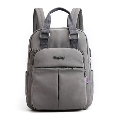 Top-Handle USB Charging Women Backpack Large Capacity Casual Travel Rucksack Preppy Student School Bag 14 inch Laptop Backpack