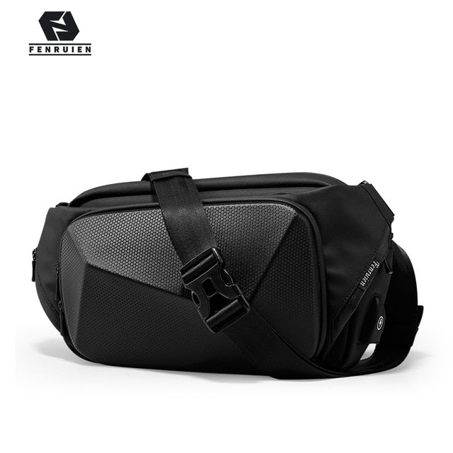 Fenruien Multifunction Crossbody Bags USB Charging Shoulder Bags for men Anti-theft Waterproof Short Trip Chest Bag 2020 New