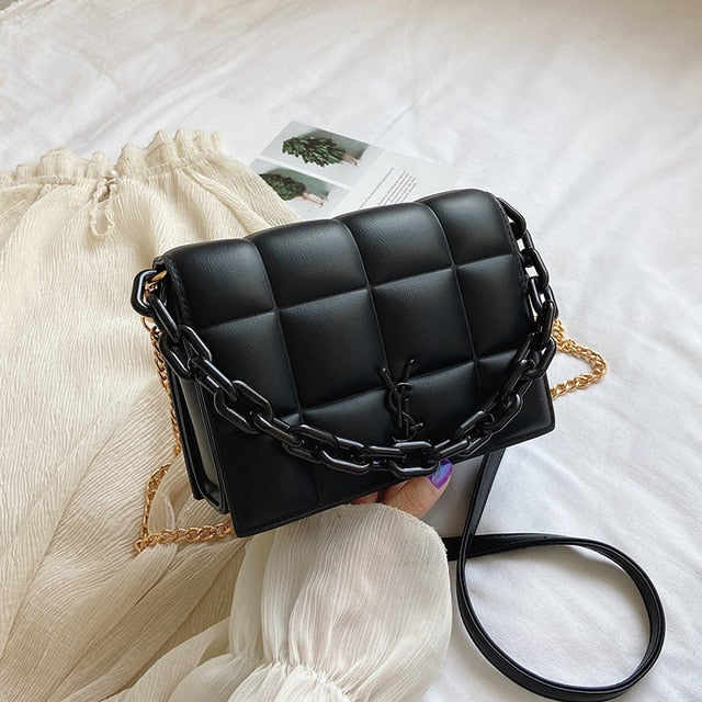2020 New Fashion Casual Plaid Chain Shoulder Messenger Bags Summer High Quality Women Purse and Handbags Small Square Bags